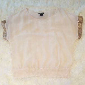 Sheer sequin sleeve shirt
